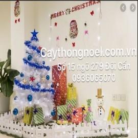 Mẫu trang trí cây thông trắng Noel 2m1 (mẫu 18)