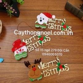 Chữ Merry Christmas in gấu - người tuyết